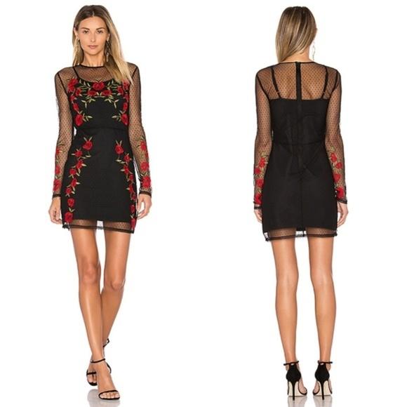 Lovers + Friends Dresses & Skirts - Lovers + Friends Morella Rose Mesh Black Dress